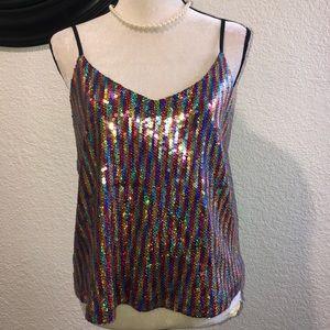 Material Girl spaghetti strap sequin top